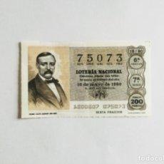 Lotería Nacional: DÉCIMO LOTERÍA NACIONAL, MAYO 1980. PEDRO CALVO ASENSIO. ADMON. ZARAGOZA. Lote 142335730