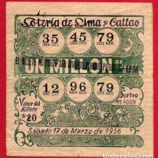 Lotería Nacional: LOTERIA DE LIMA Y CALLAO ,1956 , PERU ,ORIGINAL , C9. Lote 142592386