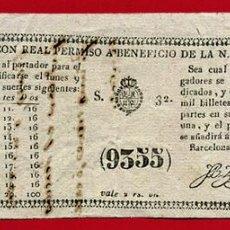 Lotería Nacional: LOTERIA O RIFA A BENEFICIO NTA. SRA DE LA CARIDAD , BARCELONA 1841 ,ORIGINAL , C9. Lote 142592634