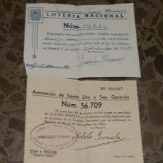 Lotería Nacional: TRES PARTICIPACIONES LOTERIA NACIONAL AÑO 1965. NUMEROS 2384 Y 36709. Lote 142905878