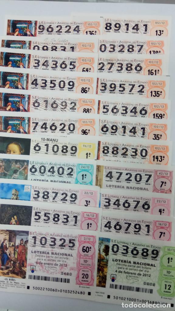 22 DECIMOS DE LOTERA NACIONAL DEL AÑO 2012 (Coleccionismo - Lotería Nacional)