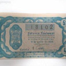Lotería Nacional: 18 DÉCIMOS DE LOTERÍA NACIONAL DEL 1959,1962 Y 1963. INCLUYE EL SORTEO 19 DE 1959. Lote 143351770