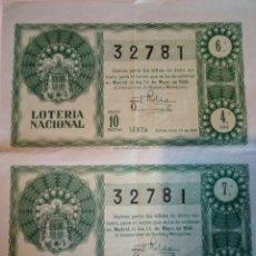 Lotteria Nationale Spagnola: 2 DECIMOS DE LOTERÍA 14 DE MAYO 1949.SORTEO 14. Lote 143587202