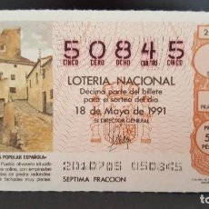 Lotería Nacional: L .NACIONAL 18 MAYO 1991. SORTEO 20/91. ARQUITECTURA P. MARTOS (HUESCA). Nº 50845. Lote 143692610