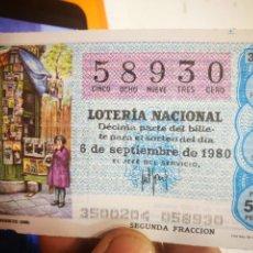 Lotería Nacional: BILLETE DE LOTERÍA NACIONAL 1980. Lote 145008830