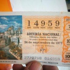 Lotería Nacional: BILLETE DE LOTERÍA NACIONAL 1977. Lote 145010034