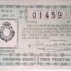 Lotería Nacional: DÉCIMO DEL Nº 01459 DEL SORTEO DE LA LOTERÍA NACIONAL DEL 30 DE JUNIO DE 1911.. Lote 192348317