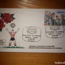 Lotería Nacional: SOBRE Y MATASELLOS - EXPO INTERNACIONAL DE LOTERÍA - MUNDIAL CULTURAL FUTBOL 82 BILBAO 16 JUNIO 1982. Lote 145667574