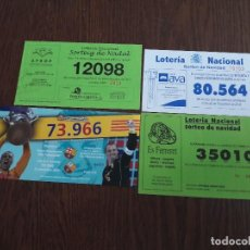 Lotería Nacional: LOTE DE 4 PAPELETAS PARTICIPACIONES DE LOTERÍA NACIONAL DE NAVIDAD AÑO 2010. Lote 145755550