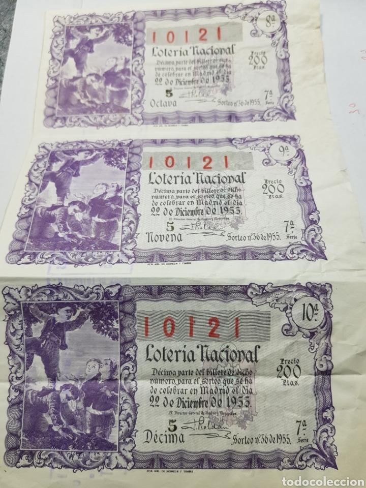 PLIEGUE LOTERÍA NAVIDAD 1955 LOTE 3 DECIMOS SIN CORTAR (Coleccionismo - Lotería Nacional)