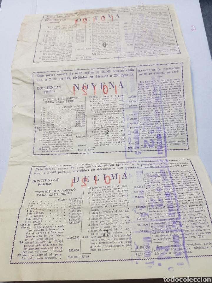 Lotería Nacional: Pliegue Lotería Navidad 1955 lote 3 decimos sin cortar - Foto 2 - 147249348