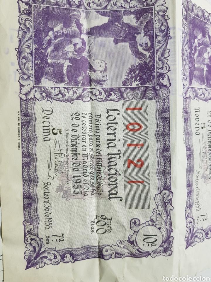 Lotería Nacional: Pliegue Lotería Navidad 1955 lote 3 decimos sin cortar - Foto 3 - 147249348