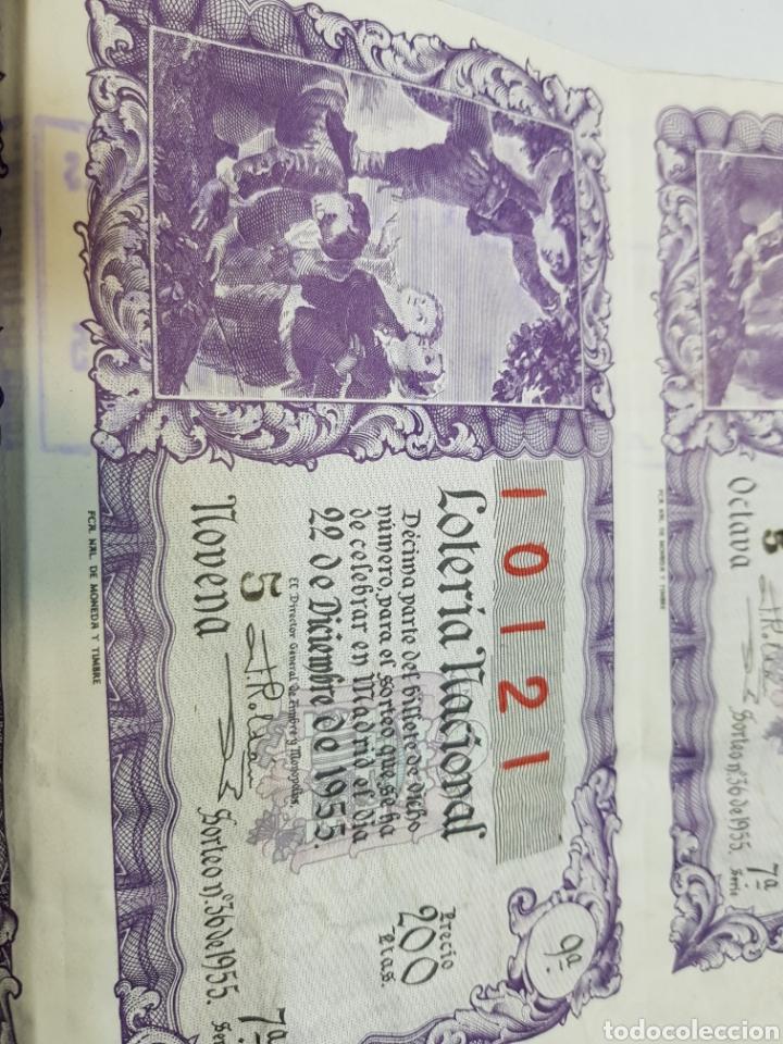 Lotería Nacional: Pliegue Lotería Navidad 1955 lote 3 decimos sin cortar - Foto 4 - 147249348