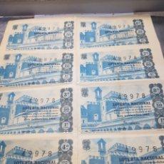 Lotería Nacional: PLIEGUE LOTERÍA NACIONAL 5 DE NOVIEMBRE DE 1962 LOTE 8 DECIMOS SIN CORTAR. Lote 147249898