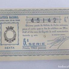 Lotería Nacional: DECIMA DECIMO LOTERIA NACIONAL SORTEO 22 DE 1936 1 DE AGOSTO DE 1936 GUERRA CIVIL. Lote 147300982