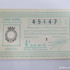 Lotería Nacional: DECIMA DECIMO LOTERIA NACIONAL SORTEO 22 DE 1936 1 DE AGOSTO DE 1936 GUERRA CIVIL. Lote 147301194