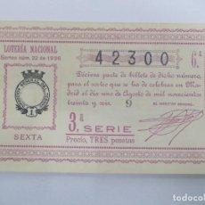 Lotería Nacional: DECIMA DECIMO LOTERIA NACIONAL SORTEO 22 DE 1936 1 DE AGOSTO DE 1936 GUERRA CIVIL. Lote 147301242