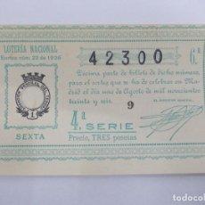 Lotería Nacional: DECIMA DECIMO LOTERIA NACIONAL SORTEO 22 DE 1936 1 DE AGOSTO DE 1936 GUERRA CIVIL. Lote 147301286
