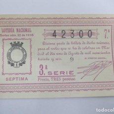 Lotería Nacional: DECIMA DECIMO LOTERIA NACIONAL SORTEO 22 DE 1936 1 DE AGOSTO DE 1936 GUERRA CIVIL. Lote 147301730