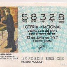 Lotería Nacional: DÉCIMO LOTERIA NACIONAL 13-6-87. Nº 58328. Lote 147540306