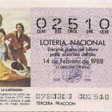 Lotería Nacional: DÉCIMO LOTERIA NACIONAL 14-2-88. Nº 02510. Lote 147540334
