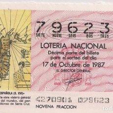 Lotería Nacional: DÉCIMO LOTERIA NACIONAL 17-10-87. Nº 79623. Lote 147540422