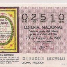 Lotería Nacional: DÉCIMO LOTERIA NACIONAL 20-2-88. Nº 02510. Lote 147540522