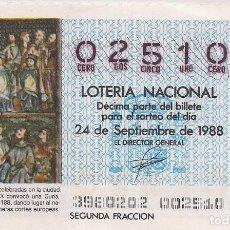 Lotería Nacional: DÉCIMO LOTERIA NACIONAL 24-9-88. Nº 02510. Lote 147540698