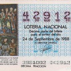 Lotería Nacional: DÉCIMO LOTERIA NACIONAL 24-9-88. Nº 42912. Lote 147540738