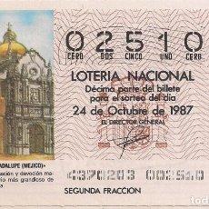 Lotería Nacional: DÉCIMO LOTERIA NACIONAL 24-10-87. Nº 02510. Lote 147540786