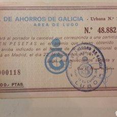 Lotería Nacional: LOTERIA CAJA AHORROS GALICIA LUGO 1979. Lote 147567486
