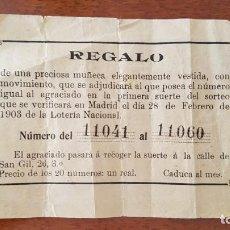 Lotería Nacional: PAPELETA SORTEO 1903. Lote 147622322