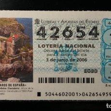 Lotería Nacional: 3 JUNIO 2006. SORTEO 44/06. FAROS DE ESPAÑA. CASTRO URDIALES. CANTABRIA. Nº 42654. . Lote 147946434