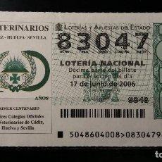 Lotería Nacional: 17 JUNIO 2006. SORTEO 48/06. CENTENARIO COLEGIOS VETERINARIOS. CADIZ. HUELVA. SEVILLA. Nº 83047. . Lote 147946870