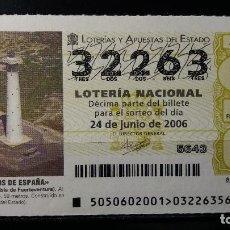 Lotería Nacional: 24 JUNIO 2006. SORTEO 50/06. FAROS DE ESPAÑA. MORRO JABLE. ISLA DE FUENTEVENTURA. Nº 32263. . Lote 147947018