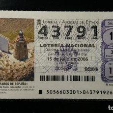Lotería Nacional: 15 JULIO 2006. SORTEO 56/06. FAROS DE ESPAÑA. CASTELL DE FERRO. GRANADA. Nº 43791.. Lote 147947442