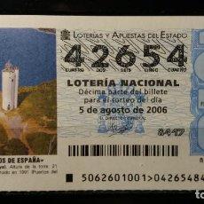 Lotería Nacional: 5 AGOSTO 2006. SORTEO 62/06. FAROS DE ESPAÑA. GORLIZ. VIZCAYA. Nº 42654. . Lote 147947786