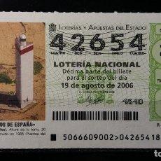 Lotería Nacional: 19 AGOSTO 2006. SORTEO 66/06. FAROS DE ESPAÑA. HIGUERA. HUELVA. Nº 42654. . Lote 147947986
