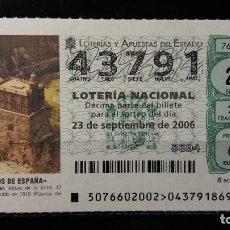 Lotería Nacional: 23 SEPTIEMBRE 2006. SORTEO 76/06. FAROS DE ESPAÑA. MELILLA. MELILLA. Nº 43791. . Lote 147948734