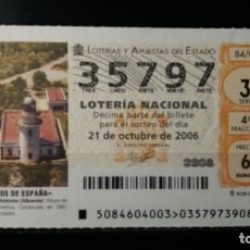 Lotería Nacional: 21 OCTUBRE 2006. SORTEO 84/06. FAROS DE ESPAÑA. CABO DE SAN ANTONIO. ALICANTE. Nº 35797. . Lote 147949006