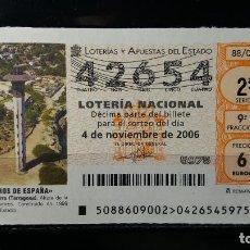 Lotería Nacional: 4 NOVIEMBRE 2006. SORTEO 88/06. FAROS DE ESPAÑA. TORREDEMBARRA. TARRAGONA. Nº 42654. . Lote 147949134