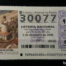 Lotería Nacional: 2 DICIEMBRE 2006. SORTEO 96/06. FAROS DE ESPAÑA. MALAGA. MALAGA. Nº 30077. . Lote 147949378