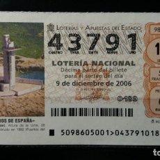 Lotería Nacional: 9 DICIEMBRE 2006. SORTEO 98/06. FAROS DE ESPAÑA. IRTA. CASTELLÓN. Nº 43791. . Lote 147949430