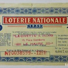 Lotería Nacional: DECIMO LOTERIE NACIONALE FRANCESA, AÑO 1939, ADMINISTRACION LE HAVRE. Lote 148179650