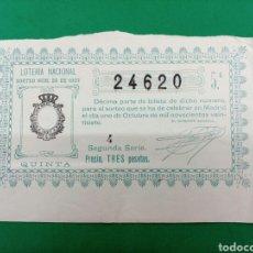 Lotería Nacional: DECIMO DE LOTERIA 1927. Lote 148212809