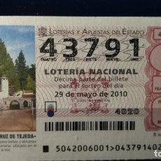 Lotería Nacional: 22 MAYO 2010. SORTEO 40/10. PARADOR DE CEUTA. Nº 43791. . Lote 148221022