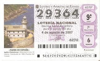 DÉCIMO LOTERÍA NACIONAL, SORTEO Nº 62 DE 2007. FAROS DE ESPAÑA. IGELDO. REF. 9-0762 (Coleccionismo - Lotería Nacional)