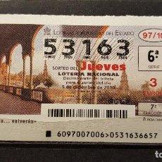 Lotería Nacional: 9 DICIEMBRE 2010. SORTEO 97/10. ¨SEVILLA... VOLVERAS¨. Nº 53163. . Lote 148247286