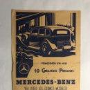 Lotería Nacional: MERCEDES BENZ. PUBLICIDAD, CARTEL DE PEQUEÑO TAMAÑO . VENCEDOR DE 10 GRANDES PREMIOS (A.1935). Lote 148699166