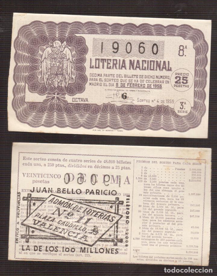 LOTERIA NACIONAL MUY ANTIGUA NUMERO 19060 5 /02/1955----- 10ª-3ª SERIE (Coleccionismo - Lotería Nacional)